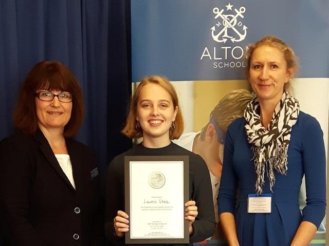 Dr Jane Gould, Director of Alton School's International Programme, Lauren Shea, TeenTech International Ambassador and Dr Louise Clayton, Head of Scien