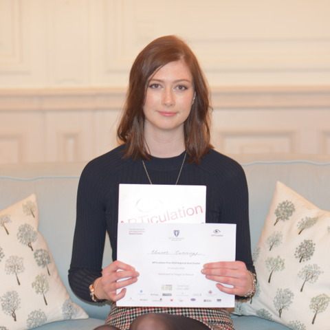 Ellie in Y12 holding the ARTiculation certificate awarded to her in recognition of her accomplished presentation.