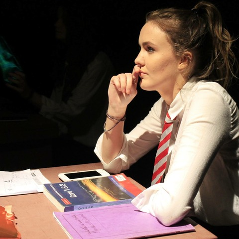 A Scene from 'Betrayed by my Mind', a recent production at Dauntsey's, conceived and directed by a Sixth Form pupil at the School.