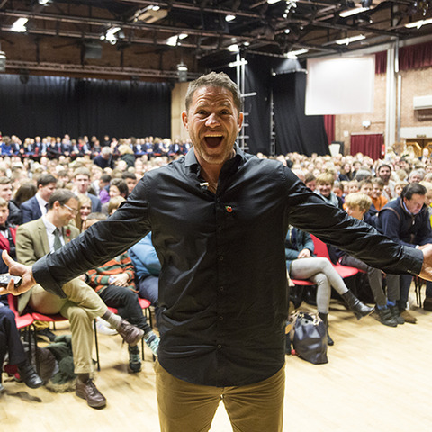 Photograph shows: Steve Backshall in front of a sell-out audience at Dauntsey's
