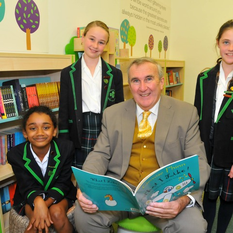 Gervase Phinn and Highfield Prep School pupils in the Library