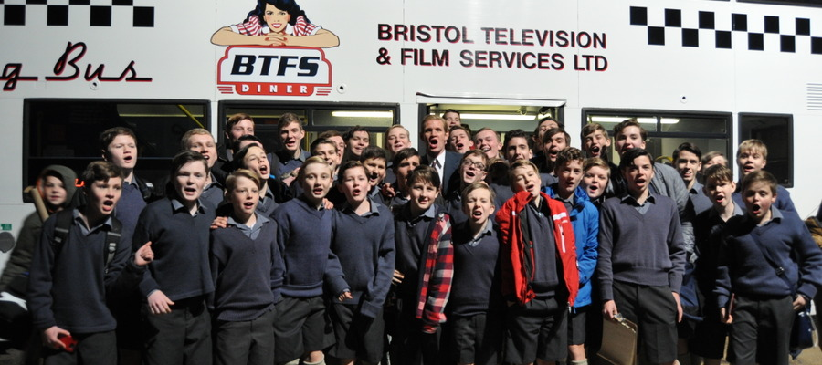 Kingham Hill School pupils cheering wrap of filming with Matt Smith