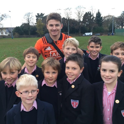 The Paragon's U10A rugby team with NZ's Beauden Barrett
