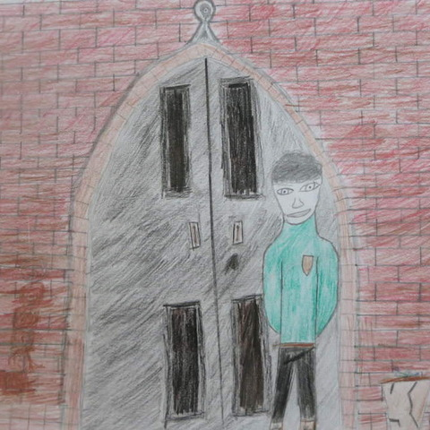 Wyndham Le Strange stands in a green smoking jacket in the school's main entrance arch. Illustration by Jonny Townsend, Year 8, Sompting Abbotts Prepa