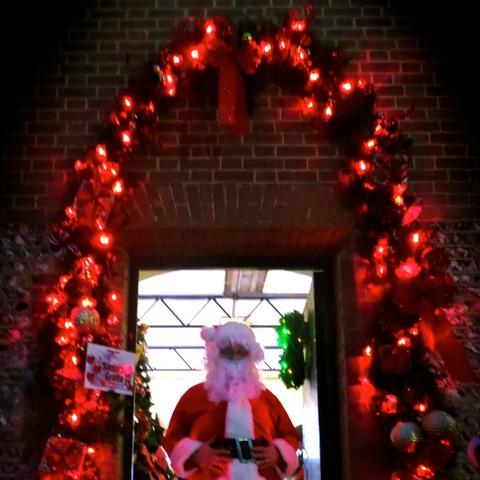 Santa at the Grotto entrance