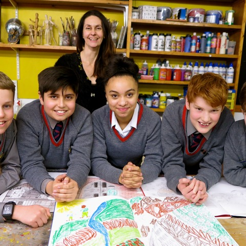 Sompting Abbotts' young book illustrators with Head of Art Andrea Tewkesbury. From left: George Bryant-Nicols, Ethan Roberts, Chloe Macklin, Jonny Tow