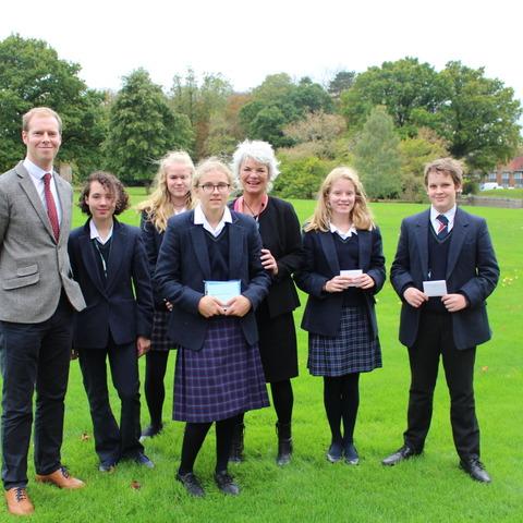Bede's pupils with Sara Wheeler
