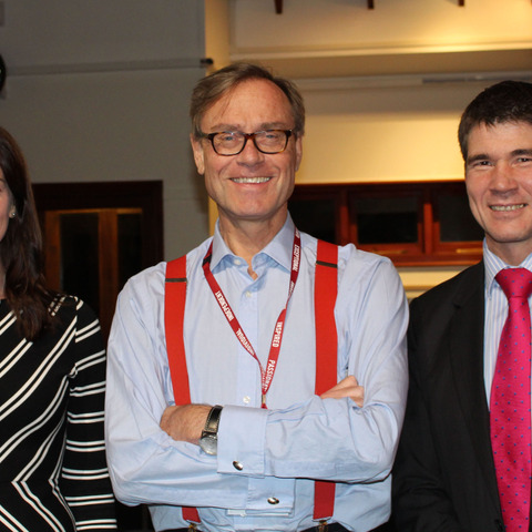 Headmaster of Bedes Mr Peter Goodyer and his wife Laura and guest Mr Barnaby Lenon