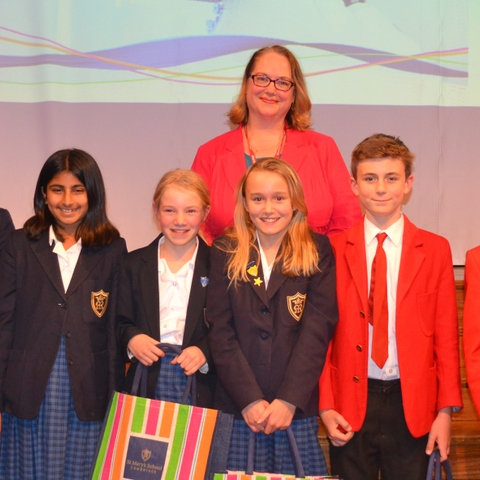 Year 7 and Year 8 shortlisted students with Emily Winslow